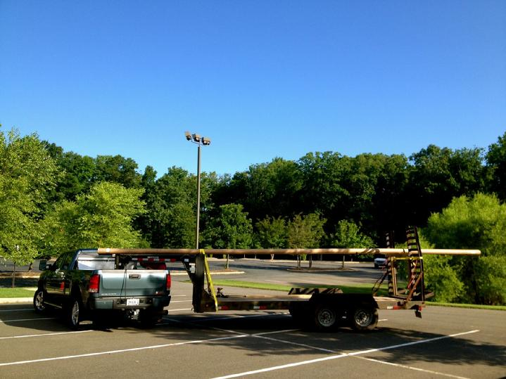 large aluminum flagpole ready for pickup at bald eagle flag store and flagpoles va